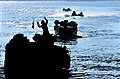US Navy 090711-N-9740S-444 Amphibious assault vehicles from the 22nd Marine Expeditionary Unit (22nd MEU) approach the well deck of the amphibious assault ship USS Bataan (LHD 5) during an amphibious training exercise.jpg