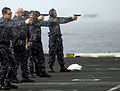 US Navy 100716-N-6362C-072 Security department Sailors participate in small-arms qualification aboard the aircraft carrier USS Harry S. Truman (CVN 75).jpg