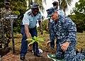 US Navy 110805-N-OV802-184 Cmdr. Angel Cruz, commanding officer of the guided-missile frigate USS Samuel B. Roberts (FFG 58), plants a mango tree.jpg