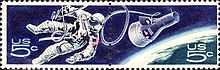 US 5 cent postage stamp design featuring White tethered to the Gemini spacecraft in Earth orbit