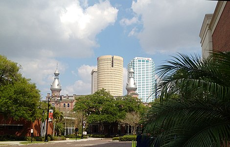 Moorish minarets with Tampa's high-rise office buildings in the background