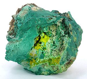 Shinkolobwe - Uranophane in malachite specimen from the Shinkolobwe mine
