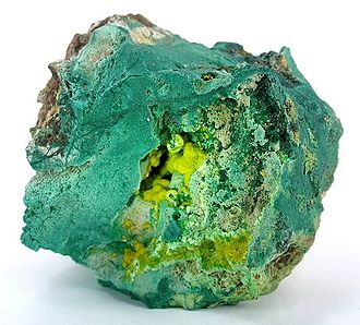 High Explosive Research - Uranophane in malachite specimen from the Shinkolobwe mine