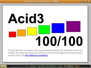 Uzbl - Uzbl browser fully passing Acid3 test