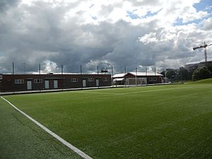 Vänersborgs IF - The home ground Vänersvallen with the clubhouse at the right.