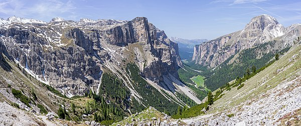 The Langental vally in the Puez-Geisler Nature Park, Dolomites UNESCO World Heritage Site.