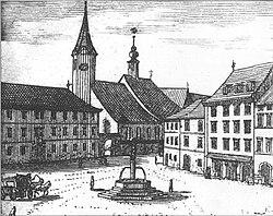 Valvasorjev bakrorez Mestnega trga s stolnico 1689.jpg
