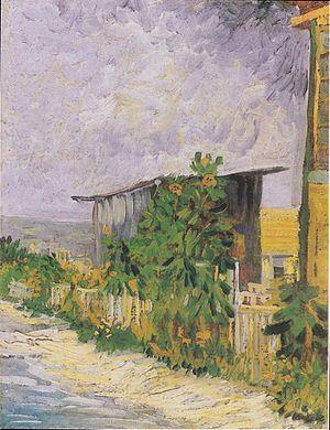 Montmartre (Van Gogh series) - Image: Van Gogh Schuppen am Montmartre mit Sonnonblume