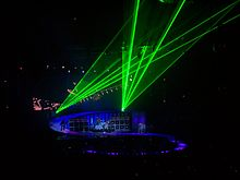 A laser show above the band