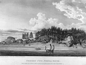 "History of British Columbia - Friendly Cove, Nootka Sound. Volume I, plate VII from: ""A Voyage of Discovery to the North Pacific Ocean and Round the World"" by George Vancouver."