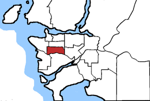 Vancouver South - Vancouver South in relation to other federal electoral districts in Vancouver
