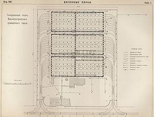 Vasileostrovsky tram depot - General plan. 1908