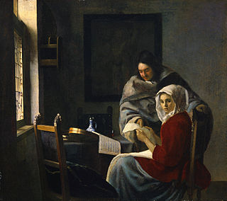 <i>Girl Interrupted at Her Music</i> painting by Johannes Vermeer