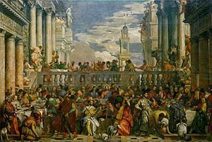 The Wedding at Cana - Until the 20th-century restoration of The Wedding at Cana (1563), the tabard of the master of ceremonies was red; upon removal of the hue, the tabard was green. (left, lower quarter)
