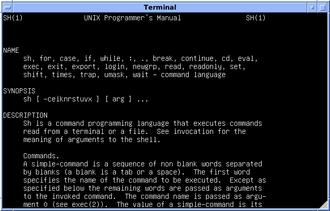 Bourne shell - Version 7 Unix: the original Bourne shell manual page. PDP-11 simulation with SIMH