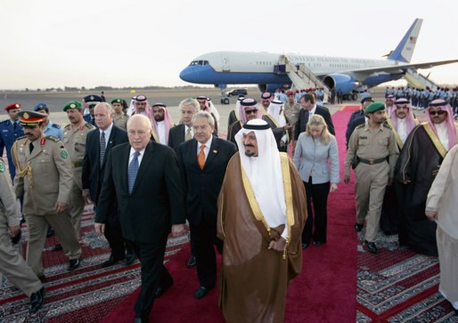 Vice President Dick Cheney walks with Saudi Crown Prince Sultan bin Abdulaziz