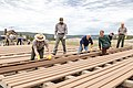 Vice President Mike Pence works with Yellowstone Superintendent Cam Sholly on the Old Faithful boardwalk construction project (48063350598).jpg