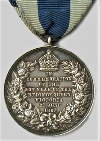 Queen Victoria Golden Jubilee Medal - Image: Victoria Golden Jubilee Medal, reverse