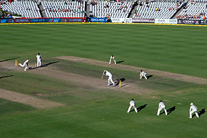 Australian cricket team in South Africa in 2013–14 - Ryan Harris bowls Morne Morkel to secure victory and a series win for Australia