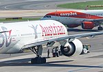Vienna Int'l Airport, Boeing 777-200ER Austrian Airlines (60 Years Livery), Airbus A319-212 easyJet.jpg