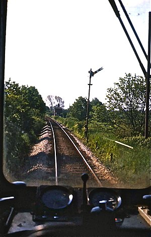 British Rail Class 105 - 1978 view towards Bures from Class 105 approaching Sudbury.