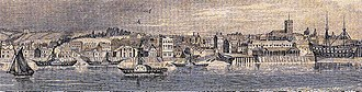 Old Woolwich - The riverfront a century later (R. Rixon, 1841). The ropeyard and old church have gone; the watermen's stairs are still in use