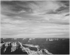 "View of canyon in foreground, horizon, mountains and clouded sky, from"" North Rim, 1941,"" "" Grand Canyon National Park,"" - NARA - 519890.tif"