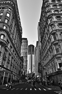 View of the new One World Trade Center from Fulton Street., NYC.jpg