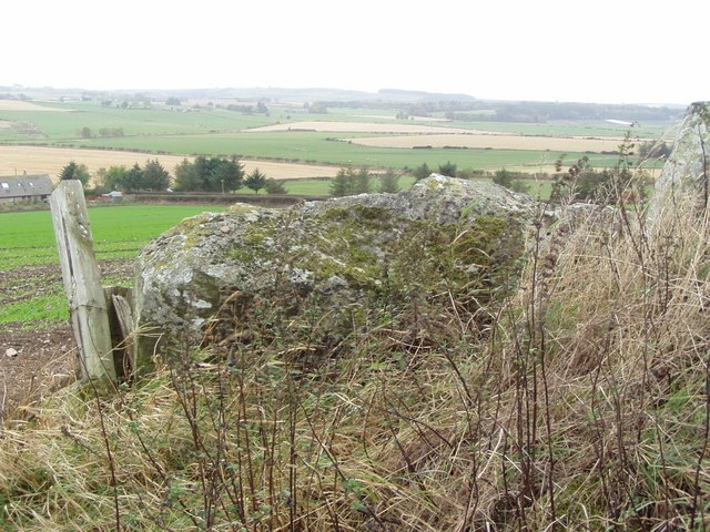 View over the recumbent of Hill of Fiddes Stone Circle - geograph.org.uk - 929287