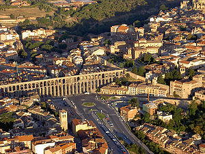 Aqueduct of Segovia - Aerial view of the aqueduct
