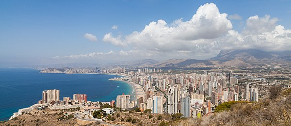 View of Benidorm, turistic capital of the Costa Blanca (literally White Coast) in Land of Valencia, Spain.