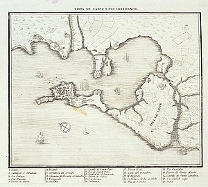 Action of 7 April 1800 - Map of Cádiz Bay