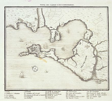 Map of the environs of Cadiz (c. 1813) Vista de Cadiz y sus contornos hacia 1813.jpg