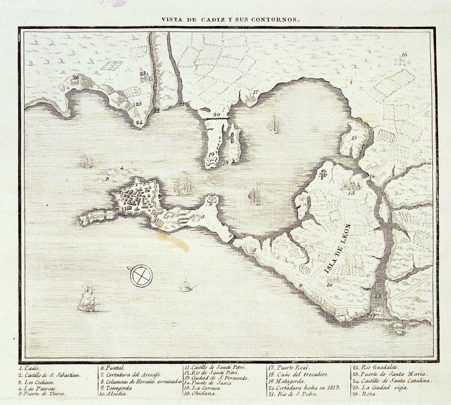 Vista de C%C3%A1diz y sus contornos hacia 1813