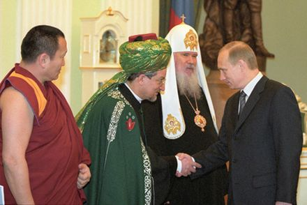 Putin with religious leaders of Russia, 2001 Vladimir Putin 21 February 2001-2.jpg