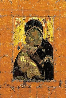 Our Lady of Vladimir Medieval Byzantine icon depicting the Virgin and Child