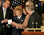 WASP Deanie Parrish accepts the Congressional Gold Medal from House Minority Leader John Boehner, Sen. Harry Reid and House Speaker Speaker of the House Nancy Pelosi.jpg