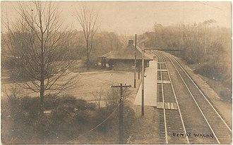 Waban station - Waban station on a 1907 postcard