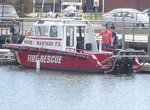 Wantagh, New York - Wantagh Fire Department Marine One docked at Wantagh Park, Wantagh