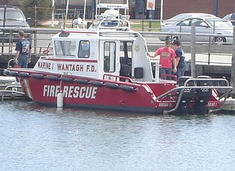 Wantagh, New York - Wantagh Fire Department Marine One docked at Wantagh Park, Wantagh