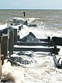 Waves break over a groyne near Waxham - geograph.org.uk - 269861.jpg