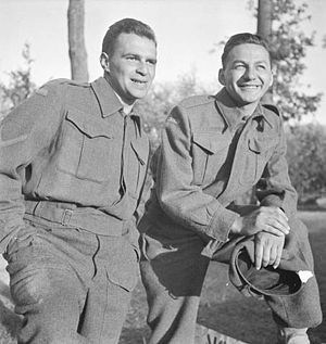 Wayne and Shuster - Wayne and Shuster before a performance in France, 1944