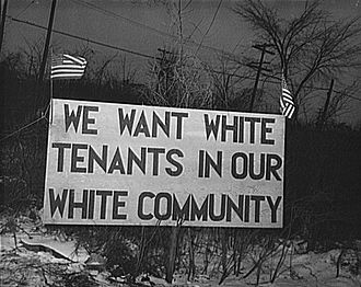 Civil rights movement - White tenants seeking to prevent blacks from moving into the housing project erected this sign, Detroit, 1942.
