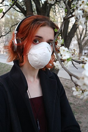 Wearing FFP mask during the COVID-19 pandemic in Khmelnytskyi, April 2020.jpg
