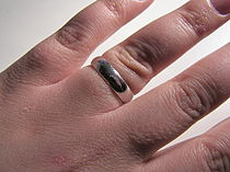 A white gold wedding ring.