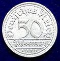 Weimar Republik 50 Pfg 1919 D Al- Coin. Obverse.jpg