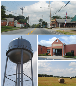 Top, left to right: Main Street, Water tower, Pelzer Elementary School, field with bales of hay