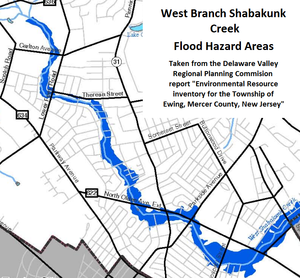 "Shabakunk Creek - Map of flood hazard areas along the West Branch Shabakunk Creek in Ewing Township, produced by the Delaware Valley Regional Planning Commission in its report, ""Environmental Resource Inventory for the Township of Ewing, Mercer County, New Jersey"""
