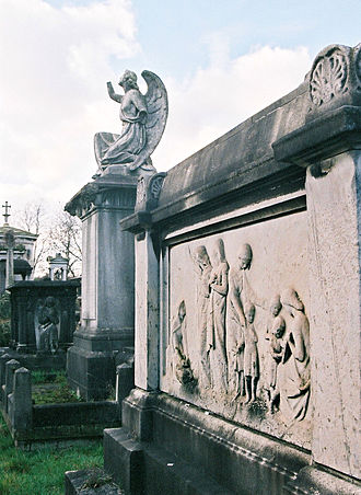 West Norwood Cemetery - Graves and memorials in the cemetery. The tomb holding Maria Zambaco is in the foreground.