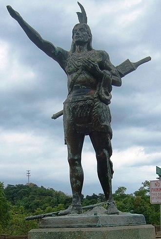 Mingo - Statue of Mingo, Greetings to Wayfarers, in Wheeling, West Virginia.